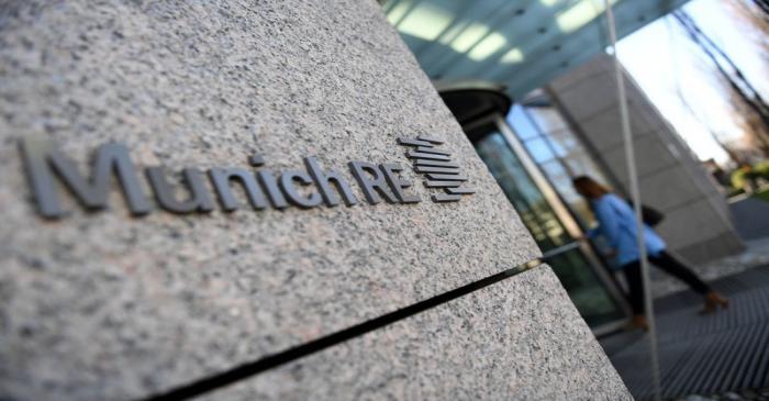 The logo of reinsurance company Munich Re Group