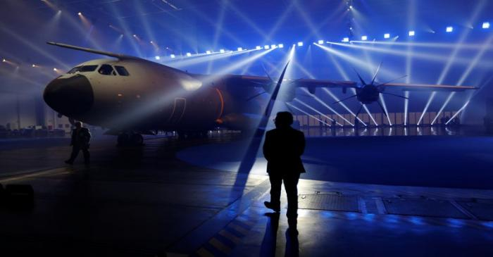 An Airbus A400M military transport plane is parked at the Airbus assembly plant during an event