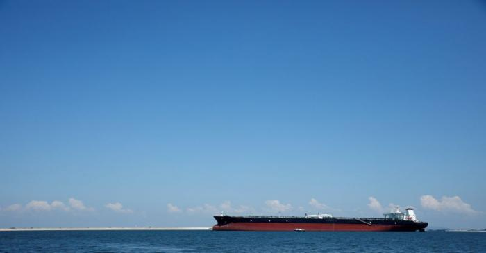 An oil tanker is pictured in the waters off Tuas in Singapore