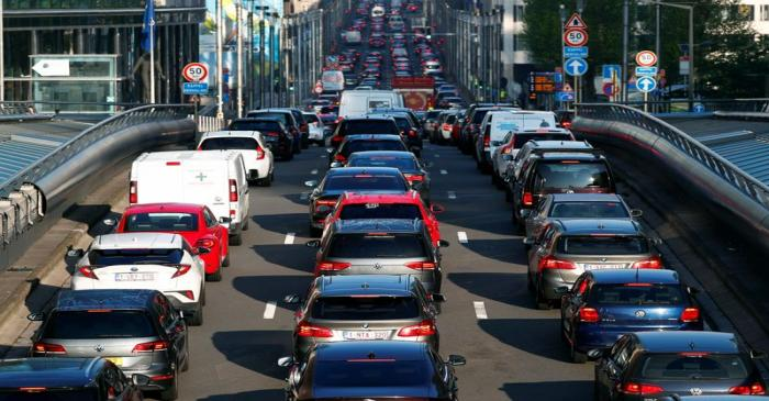 Cars are seen stuck in a traffic jam in central Brussels