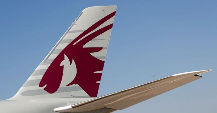 A Qatar Airways Airbus A350-1000  is pictured at the Eurasia Airshow in the Mediterranean