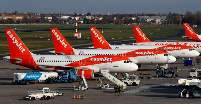 FILE PHOTO: EasyJet airplanes are pictured at Tegel airport in Berlin