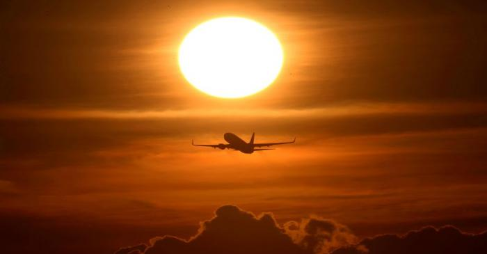 FILE PHOTO: An air plane takes off from the airport as air traffic is effected by the spread of