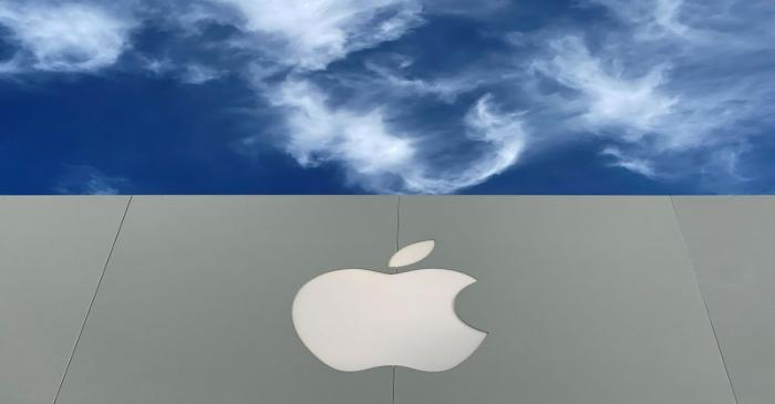 FILE PHOTO: The Apple logo is shown atop an Apple store at a shopping mall in La Jolla,