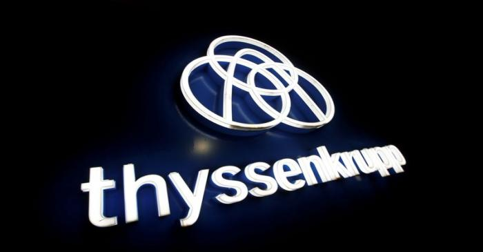 FILE PHOTO: Thyssenkrupp's logo is seen outside elevator test tower in Rottweil
