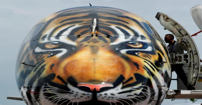FILE PHOTO: Embraer E-190 E2 aircraft featuring a spray painted tiger's face is displayed
