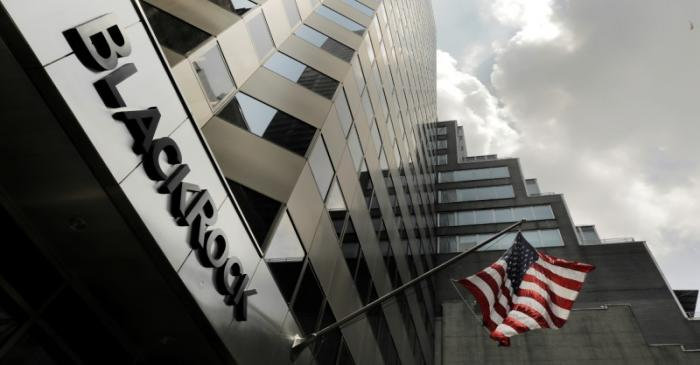 FILE PHOTO: A sign for BlackRock Inc hangs above its building in New York