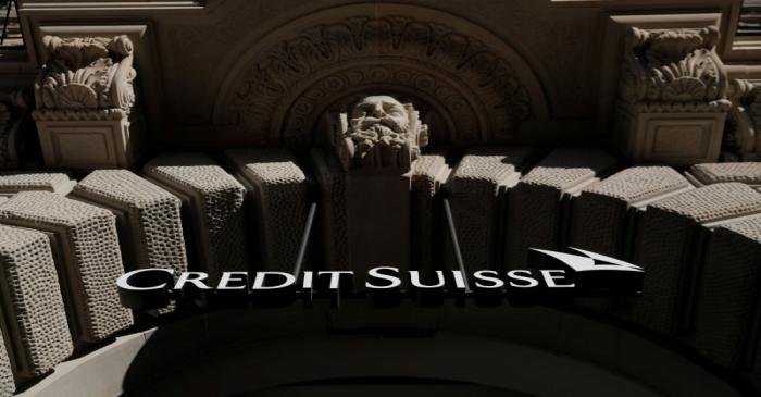 FILE PHOTO: Logo of Swiss bank Credit Suisse is seen Zurich