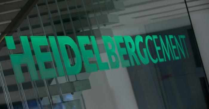 A logo of HeidelbergCement is pictured at their headquarters in Heidelberg