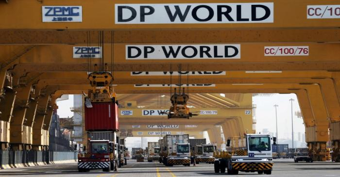 FILE PHOTO: Terminal tractors line up to load containers at DP World's Terminal 2 at Jebel Ali