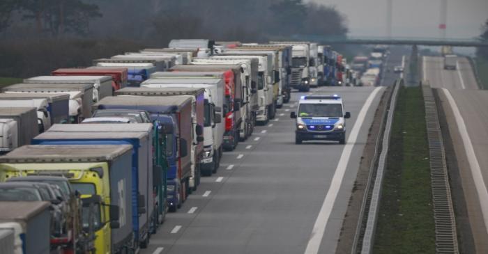 A lorry traffic jam is seen near the German-Polish border in Frankfurt/Oder