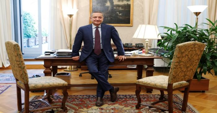 FILE PHOTO: Senior Deputy Governor of the Bank of Italy, Fabio Panetta is seen in his office