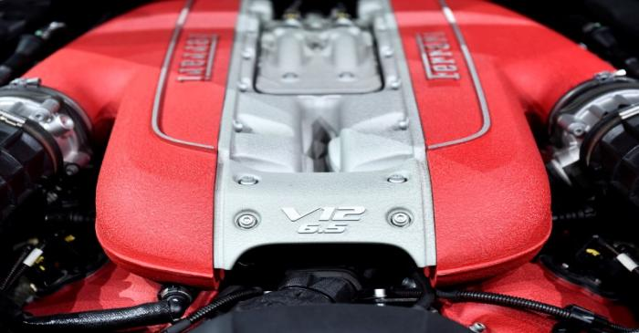 FILE PHOTO: A Ferrari 812 GTS engine during a presentation of two new Ferrari models at the