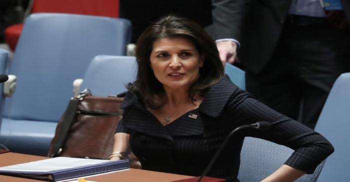 United States Ambassador to the United Nations Nikki Haley sits before the start of a U.N.