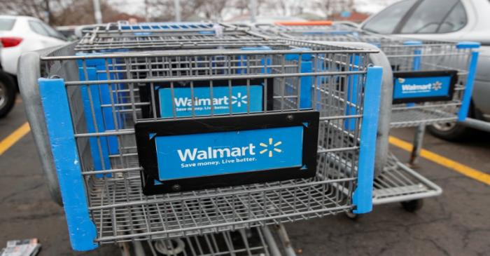 Walmart shopping carts are seen on the parking lot ahead of the Thanksgiving holiday in Chicago