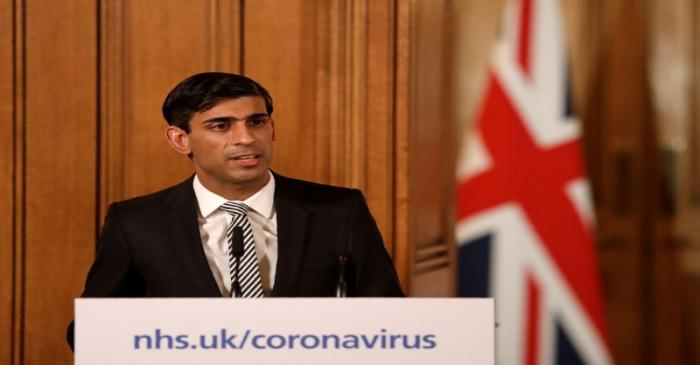 FILE PHOTO: Chancellor of the Exchequer Rishi Sunak speaks during a news conference on the