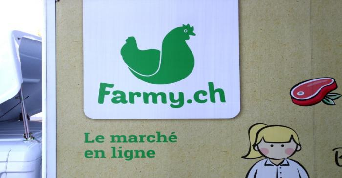 A logo of Farmy.ch, an online shop for home delivery of regional and organic products, is