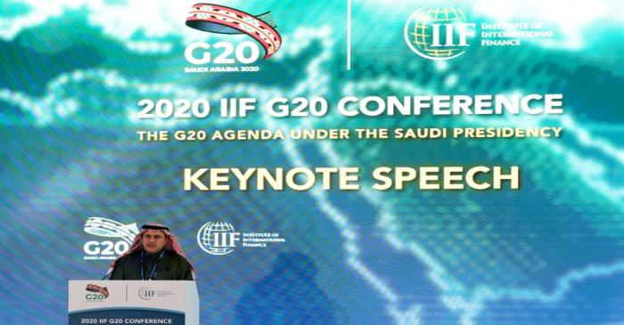 FILE PHOTO: Saudi Arabia's central bank governor Ahmed al-Kholifey speaks at the meeting of G20