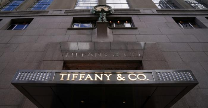 FILE PHOTO: A Tiffany & Co logo is seen outside the store on 5th Ave in New York