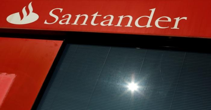 FILE PHOTO: A logo of Santander, the euro zone's largest lender by market value, is seen on a