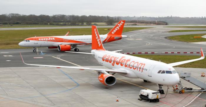 FILE PHOTO: An easyjet aeroplane at Luton Airport as the number of coronavirus cases grow