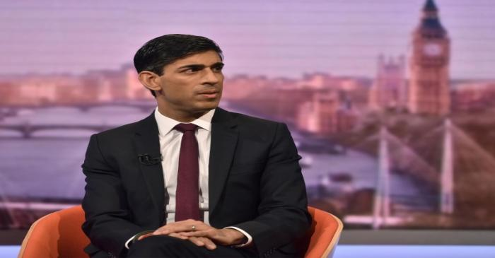 Britain's Chancellor of the Exchequer Rishi Sunak appears on BBC TV's The Andrew Marr Show in