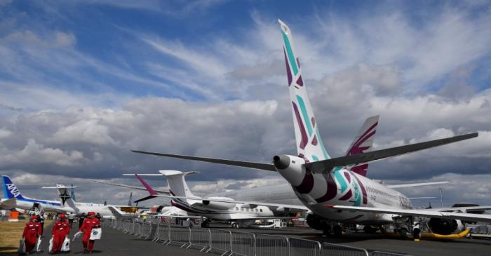 FILE PHOTO: A number of passenger planes are seen parked in static displays at Farnborough
