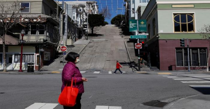 People walk on the streets in San Francisco