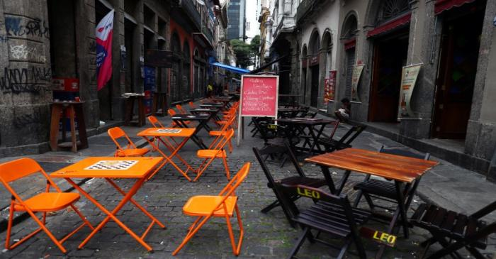 A view of empty restaurant tables amid the novel coronavirus disease (COVID-19) outbreak, in