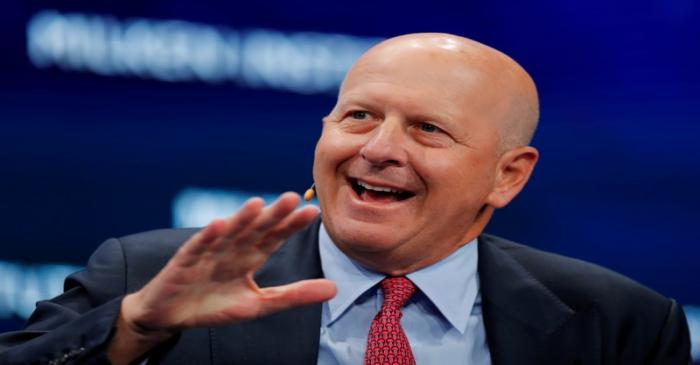 FILE PHOTO: David Solomon, chairman and CEO of Goldman Sachs, speaks during the Milken