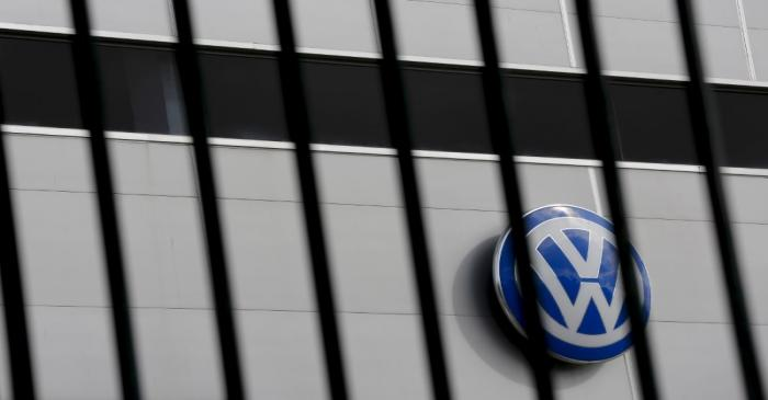 FILE PHOTO: A logo of VW is pictured at a Volkswagen dealership in Camas