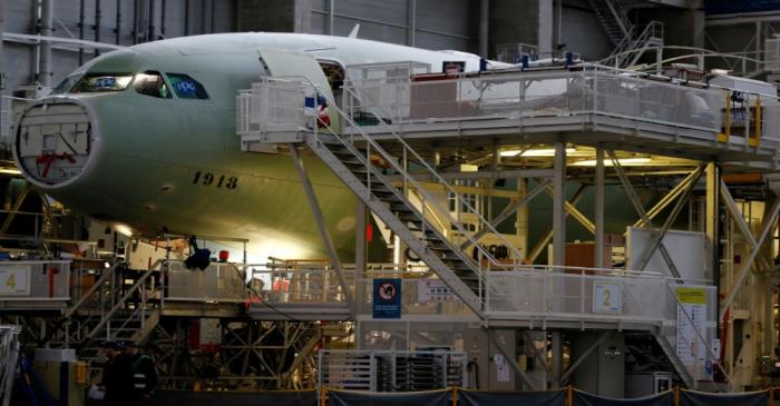 FILE PHOTO: An Airbus A330neo on its final assembly line at Airbus headquarters in Colomiers,