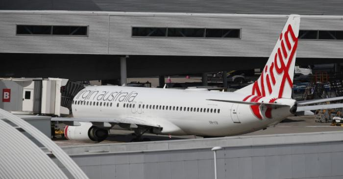 A Virgin Australia Airlines plane is seen at Kingsford Smith International Airport after