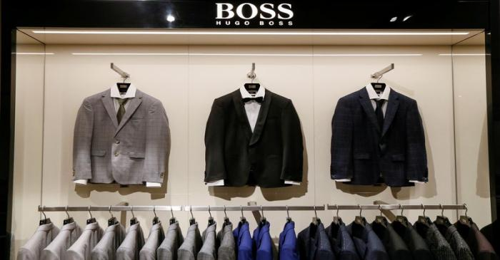 FILE PHOTO: Jackets are on display in the Hugo Boss section in the Central Universal Department