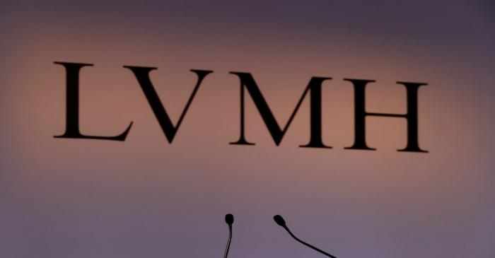 FILE PHOTO:  A LVMH luxury group logo is seen prior to the announcement of their 2019 results
