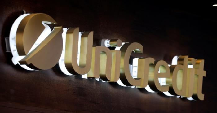 FILE PHOTO:  Unicredit bank logo is seen in the old city centre of Siena
