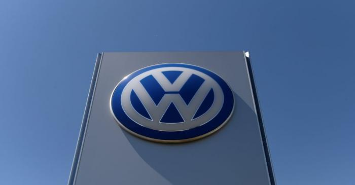 FILE PHOTO:  The logo of Volkswagen is seen in front of its construction's plant, in Bratislava