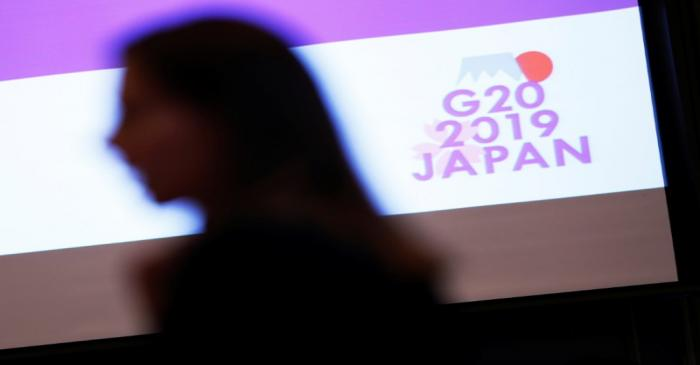 The logo of G20 Summit and Ministerial Meetings is displayed at the G20 Finance and Central
