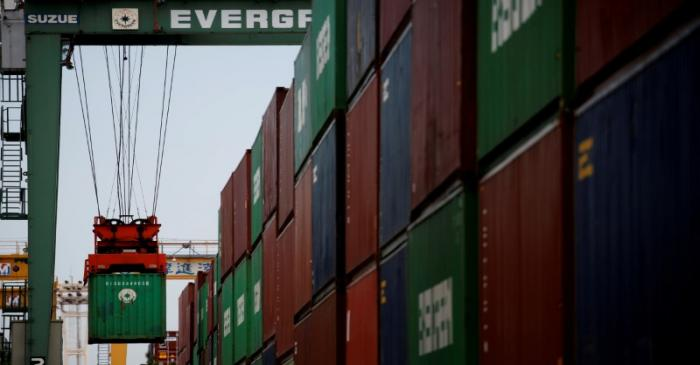 FILE PHOTO: Containers are pictured at an industrial port in Tokyo