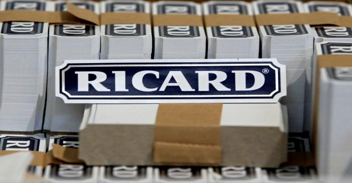 FILE PHOTO: The logo of Ricard is seen on labels at the Ricard manufacturing unit in Lormont,