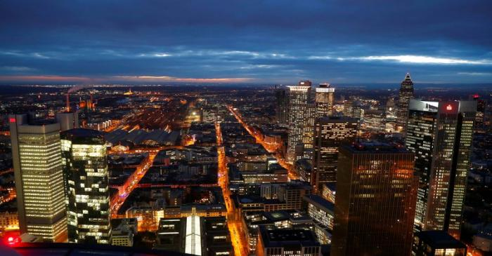 FILE PHOTO: The financial district is photographed on early evening in Frankfurt