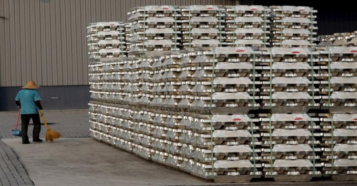 FILE PHOTO: Aluminium ingots are seen outside a warehouse that stores London Metal Exchange