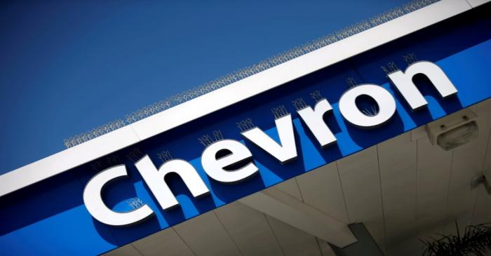 FILE PHOTO: Dow Jones Industrial Average listed company Chevron (CVX)'s logo is seen in Los