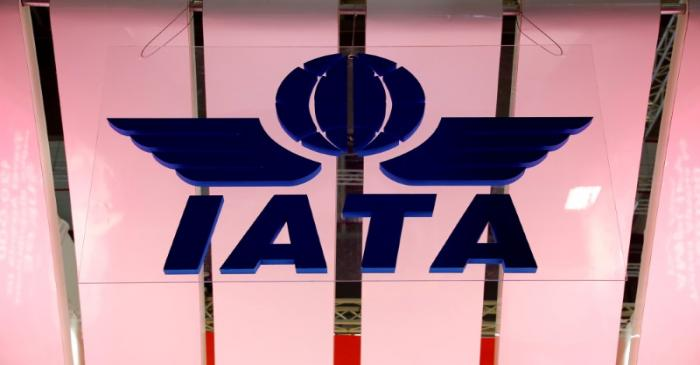 FILE PHOTO: IATA logo is seen at the International Tourism Trade Fair ITB in Berlin