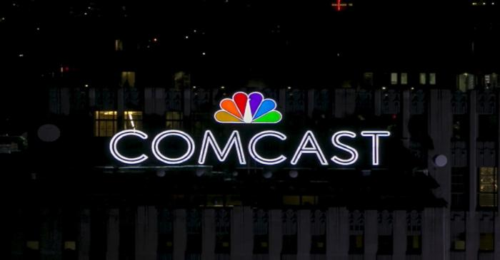 The NBC and Comcast logo are displayed on top of 30 Rockefeller Plaza, formerly known as the GE