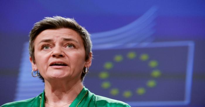 FILE PHOTO: Executive Vice-President Margrethe Vestager presents the EU executive's economic