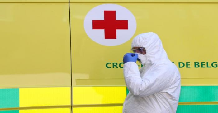 FILE PHOTO: A patient affected by COVID-19 arrives at the CHC Montlegia hospital in Liege
