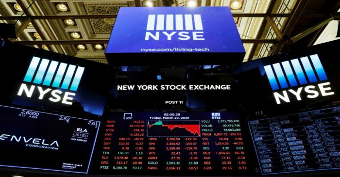 FILE PHOTO: The final numbers of the day are displayed above the floor of the New York Stock