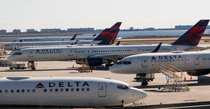 FILE PHOTO: Delta planes are seen at the platform after the Federal Aviation Administration