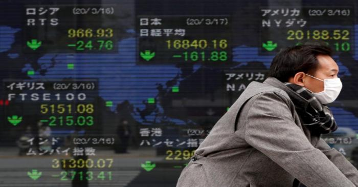 A man wearing a protective face mask walks past a screen displaying the world's markets indices